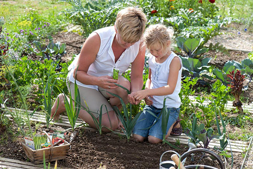 Mother and child sowing spinach seeds - © Friedrich Strauss/GAP Photos