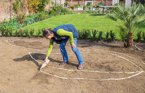 Sand Backyard Maintenance : Creating a Gravel Garden Marking out border with sand  ? GAP Photos