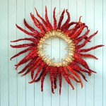 Wreath made with red peppers