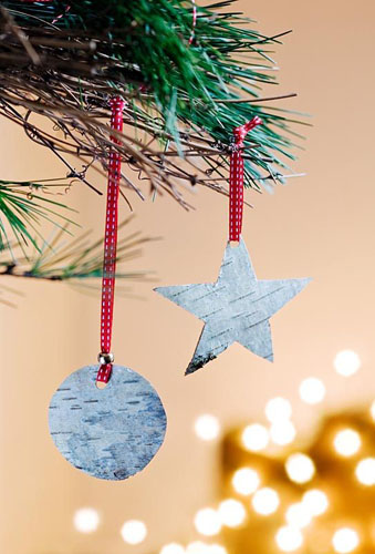 Christmas decorations made from Silver Birch bark