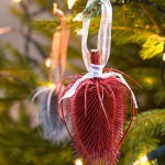 Christmas tree decorations with sprayed seedheads