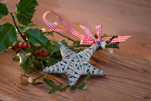 Handmade Christmas decorations with holly and ivy