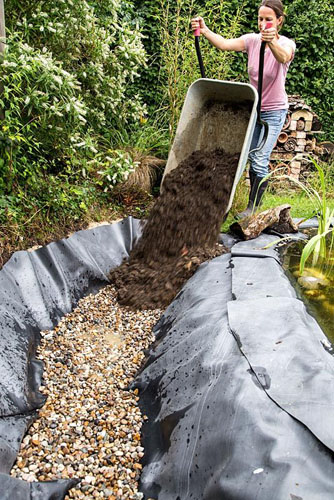 Step by step - creating a wildlife pond - mixing soil and compost for bog garden mix - © GAP Photos