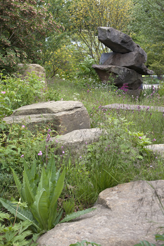 The Lauren Perrier Chatsworth Garden, featuring the naturalism of Chatsworth and the wilder side of gardening, depicting the trout stream and Paxton's rockery - Designer: Dan Pearson - Sponsors: Champagne Laurent Perrier, Chatsworth - © Jenny Lilly/GAP Photos