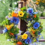 Wreath made from flowers of Calendula, Centaurea, Petroselinum, Foeniculum, Borago