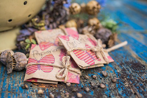Seed packet gifts containing Papaver, Cerinthe and Nigella seeds - © GAP Photos