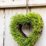 Step by Step - Turf heart hanging on wooden door