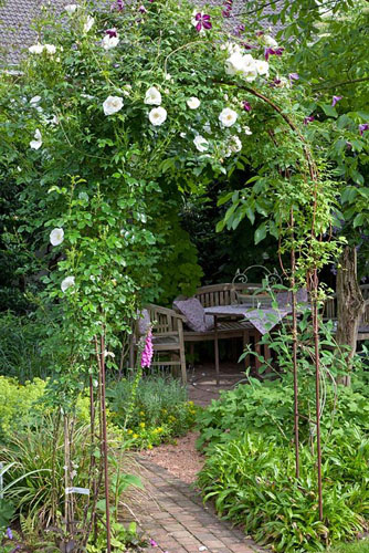 Arbour covered with planting of Rosa 'Hella' and Clematis viticella 'Walenburg' - © Elke Borkowski/GAP Photos