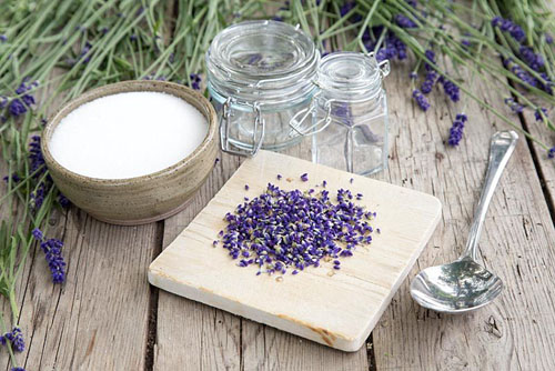 Materials required for making Lavender Sugar are empty glass jars, Lavandula angustifolia 'Hidcote' flowers and sugar - © GAP Photos