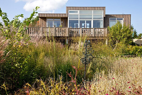 Wooden house overlooking natural planting of Lychnis coronaria - © Christa Brand/GAP Photos