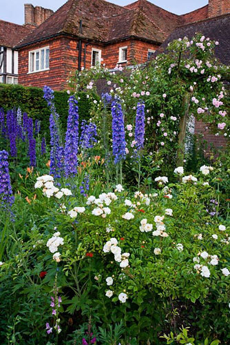 Delphinium and Rosa with Arts and Craft house beyond, borders originally designed by Gertrude Jekyll - The Manor House, Upton Grey - © Abigail Rex/GAP Photos