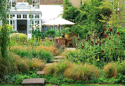 Raised pavers lead back towards the house and dinning area in this London garden, over this planting of Stipa arundinacea, ruby red holly hocks and yellow Phlomis russeliana - © Nicola Browne/GAP Photos