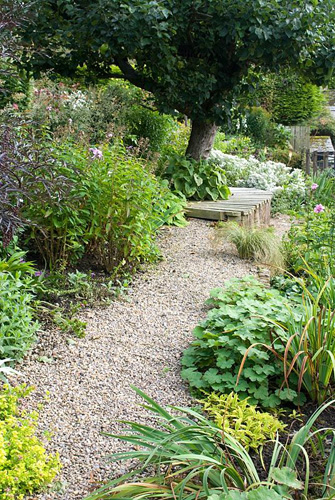 Gravel path leading towards mature Apple tree, with wooden curved seat at its base, and late summer borders with perennials and grasses on sloping back cottage garden at Church View, Appleby-in-Westmorland, Cumbria NGS - © Fiona Lea/GAP Photos