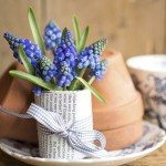 Floral display of Muscari wrapped in pages from a book, bound with ribbon.