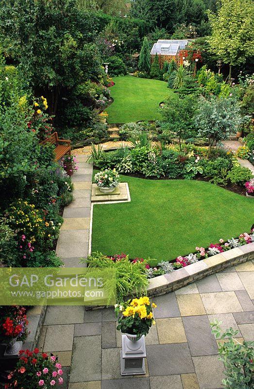 GAP Gardens - Suburban garden with paving, lawn and mixed borders ...
