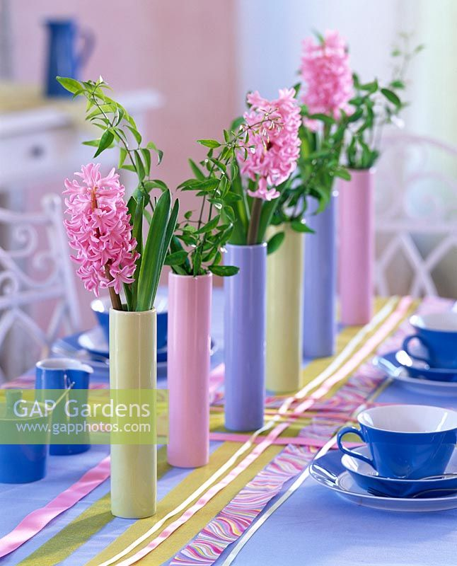 Gap Gardens Spring Table Decorations Row Of Tall Narrow Vases