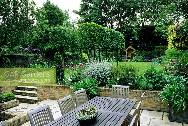 Suburban Lawn And Garden: Suburban Garden In Two Levels Wih Patio And