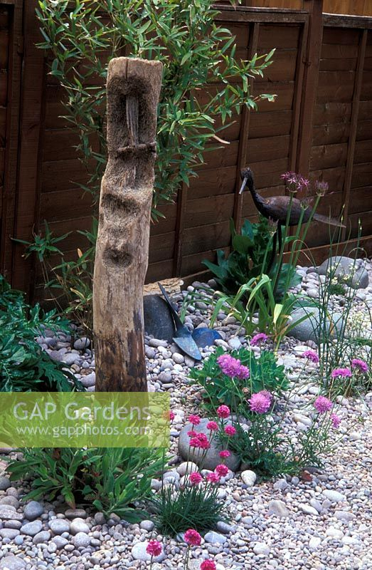 Small seaside-style garden with pebbles, a wooden groyne, Armeria maritima and Scabiosa 'Butterfly Blue '