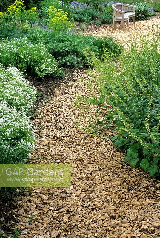 Wood Chip Gardening ~ Gap gardens wood chip path in woodland planted garden