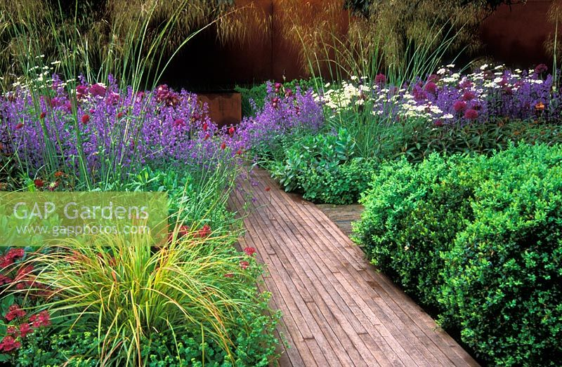 Designer Tom Stuart-Smith, RHS Chelsea Flower Show 2006. Winner of Gold Medal and Best in Show. Plants include - Nepeta racemosa 'Walker's Low', Allium 'Purple Sensation', Orlaya grandiflora, Stipa gigantea and Buxus hedge.