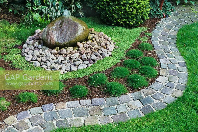 GAP Gardens Japanese garden with cobbled path water feature and