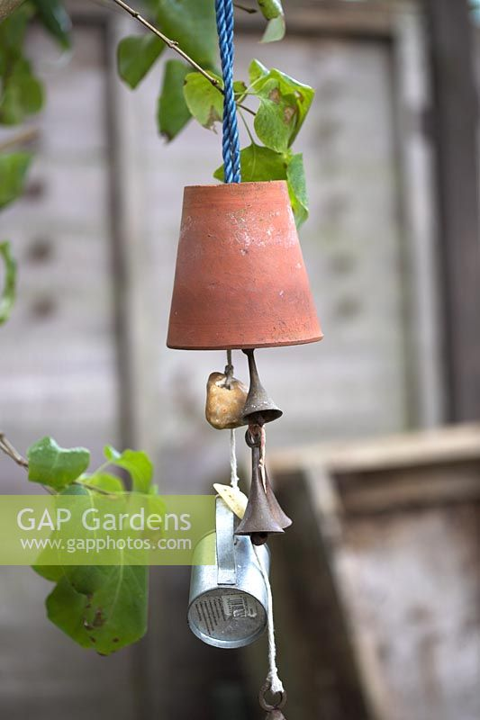 Informal garden mobile using recycled materials
