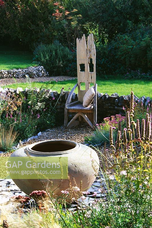 Clare Matthews Garden Blog Free Chive Edging Is Looking: Wooden Throne Chair In The Gravel Garden