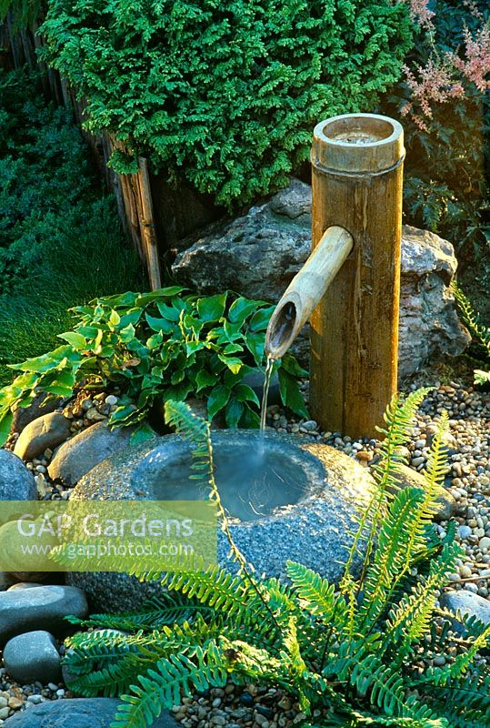 Gap gardens japanese water feature with bamboo water for Japanese bamboo water feature