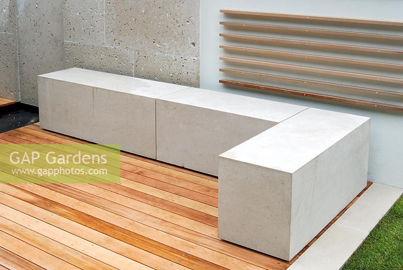 Marvelous Limestone Bench Part - 5: Limestone Bench And Decorative Wooden Wall Artwork Shelves In The Lust For  Life Garden, Chelsea