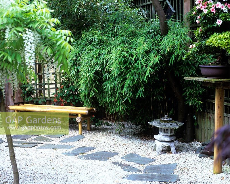 Merveilleux Japanese Garden With Slate Stepping Stones, Gravel Bamboo Seat, Stone  Lantern And Wisteria