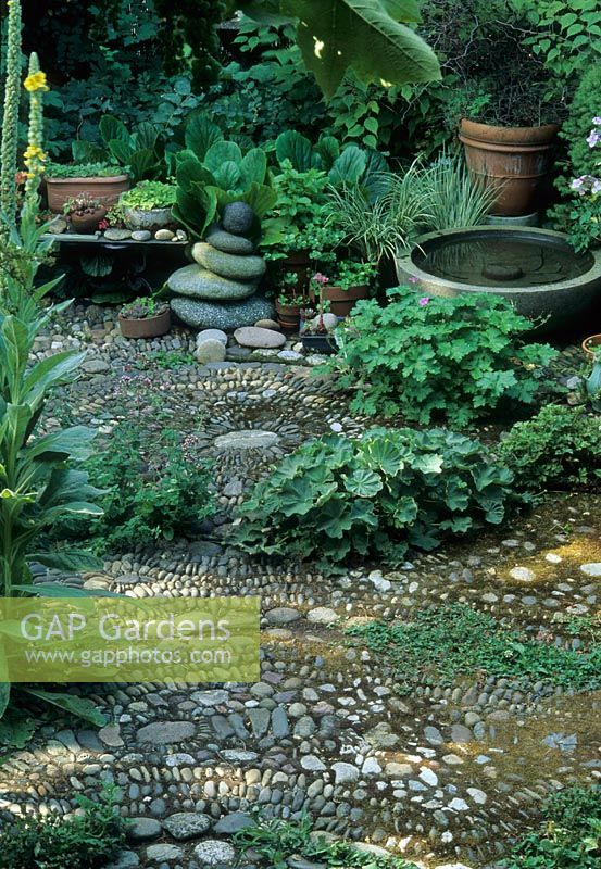 Gap Gardens Cobblestone Path With Plants And Small Water Feature Portland Oregon Usa