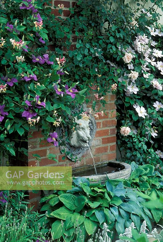 Small Water Feature With Wall Mounted Lion Head Fountain Sun House Long Melford
