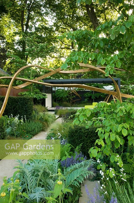 Cancer Research UK Garden Gold Medal winner with sculpture of three strands of continuous steamed oak above path. Planting of Cynara, Deschampsia cespitosa and  Salvia 'Mainacht'  - RHS Chelsea 2007