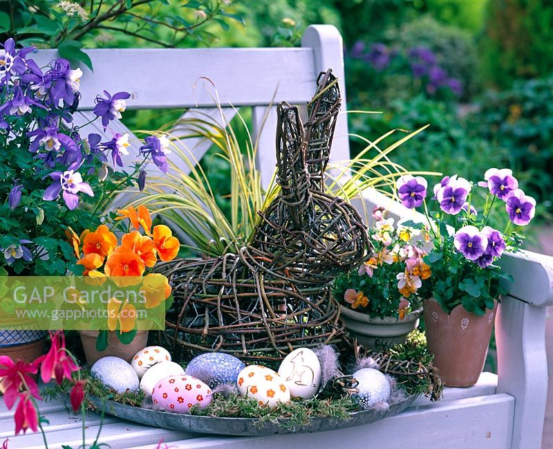 Easter arrangement with multicolored eggs, Viola wittrockiana, rabbit made from branches of Salix, Carex and Aquilegia on bench