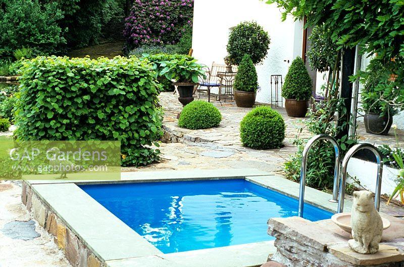 Gap gardens small swimming pool in mediterranean garden for Small swimming pools for gardens