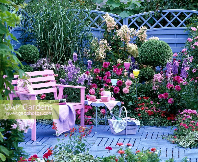 Gap gardens pink bench on blue wooden decking in front for Garden decking borders