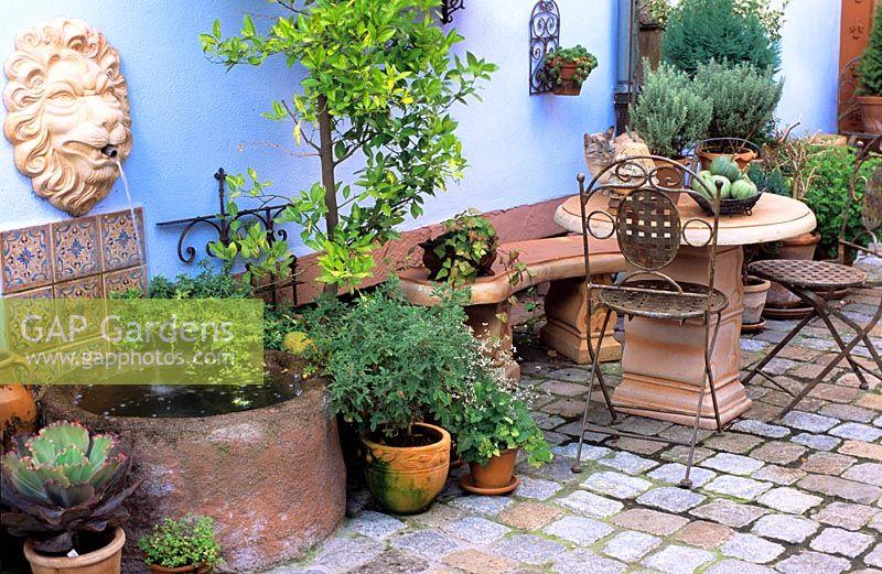 gap gardens mediterranean garden room with terracotta ornaments image no 0096416 photo by. Black Bedroom Furniture Sets. Home Design Ideas