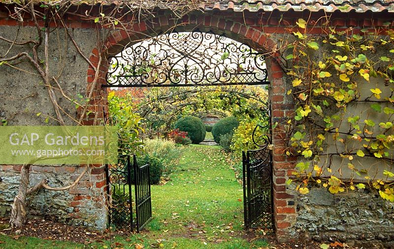 View into Tunnel Garden through cob wall - Apple tunnels and a pergola divide the garden into quarters with Buxus balls at centre