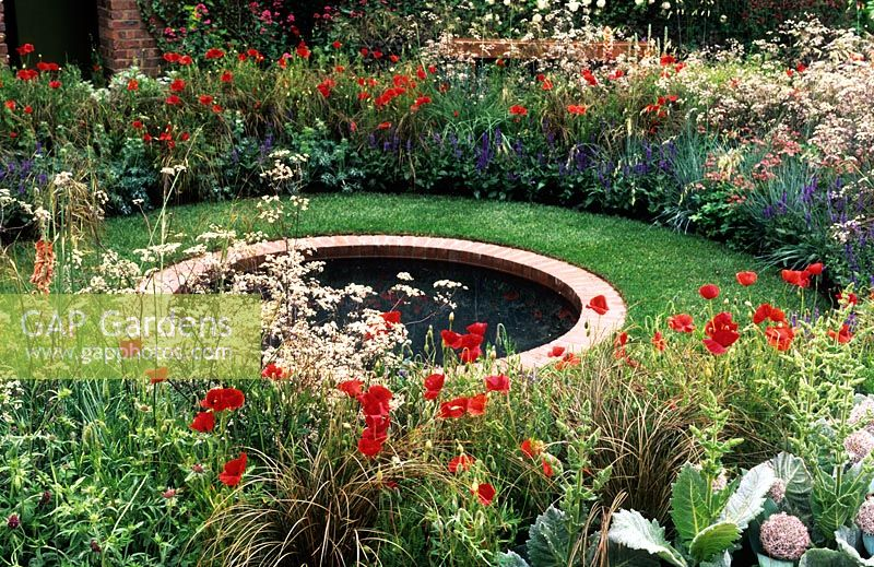 Gap gardens cottage garden with round brick lined pond for Small round pond