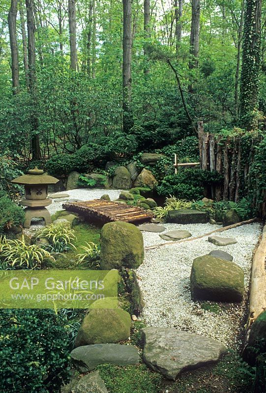 Gap Gardens Japanese Style Garden With Gravel Path Leading To Wooden Bridge The John P Humes