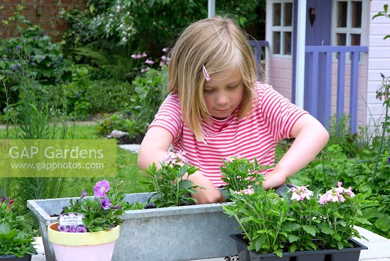 Young girl planting windowbox with bedding plants in garden