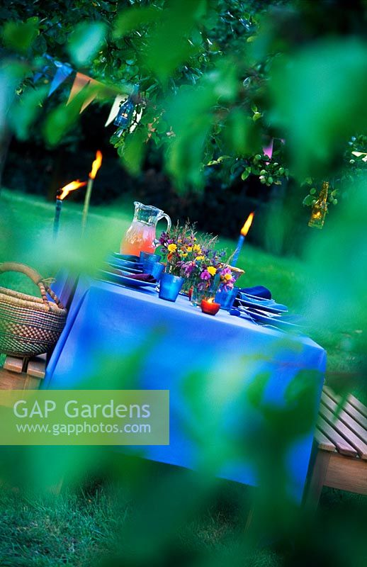Table laid for an outdoor dinner party