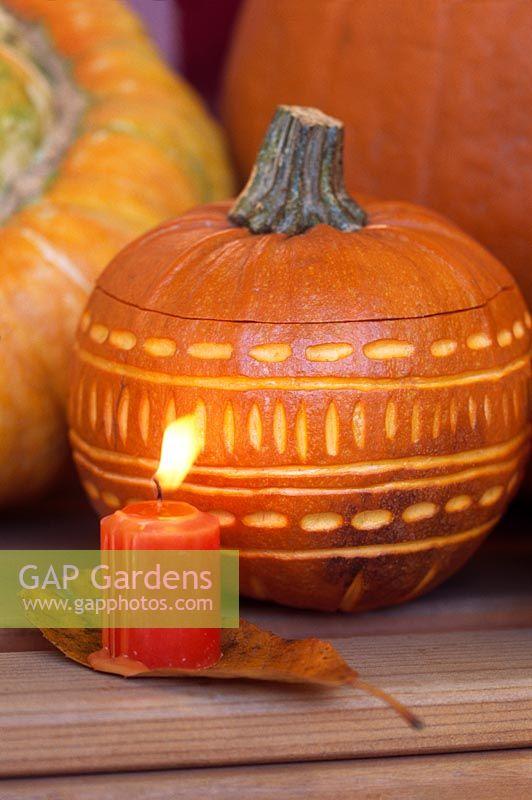 Pumpkins, squashes, gourds and candles