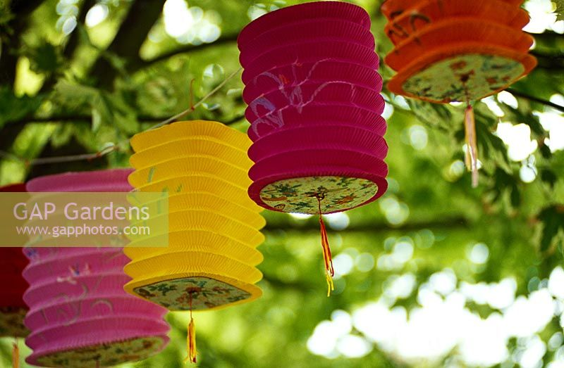 Paper lanterns hanging from trees in garden