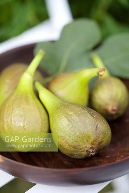 Home grown figs in wooden bowl