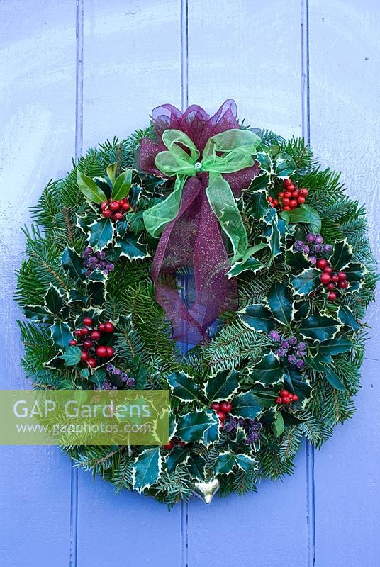 Gap Gardens Pine Foliage Christmas Wreath With Holly