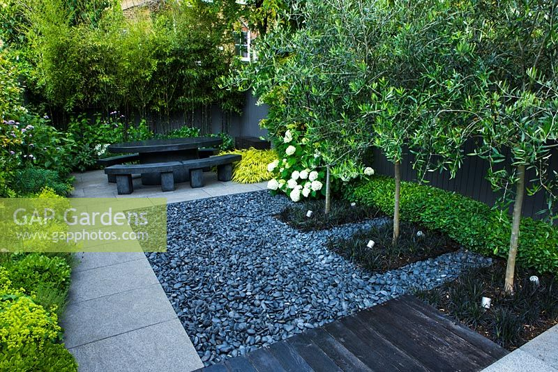 Small Contemporary Garden With Polished Grey Pebbles And Catalpa  Underplanted With Ohiopogon In Square Beds
