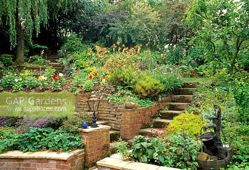 Bon Steps Up Terraced Garden With Brick Raised Beds Of Lavenders And Strawberry  Plants At Ground Level, Dahlias On Next Level, And Old Water Pump Feature  On ...