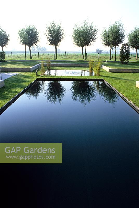 Gap Gardens Black Lined Swimming Pool And A Smaller Natural Pond Beyond Pollarded Willows