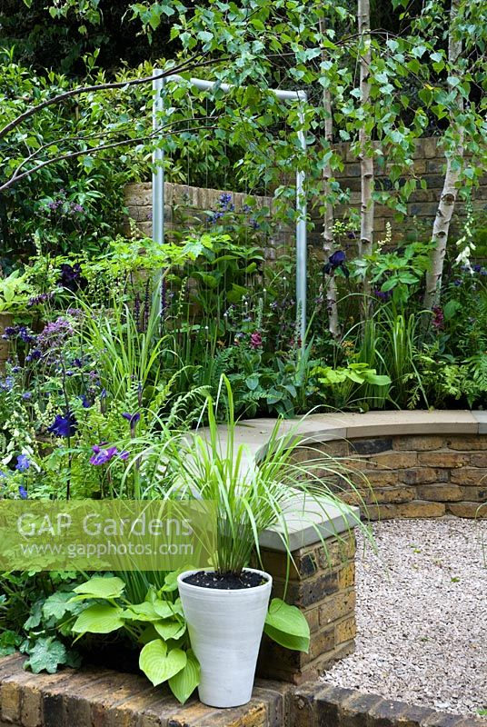 GAP Gardens - Shaded, circular seating area surrounded by Silver ...